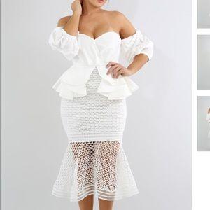 Dresses & Skirts - Plus size white off shoulder dress